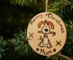 Dog Christmas wooden gift tag