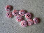 Red flower buttons 4 holes 9pcs