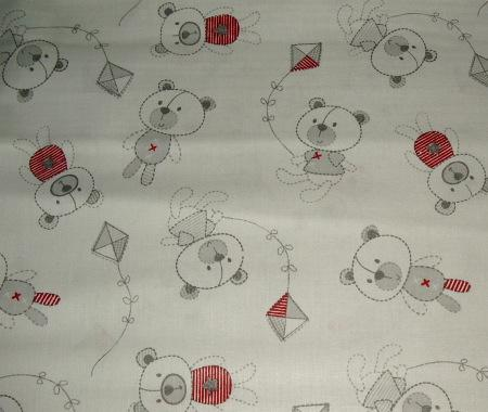 Grey background teddy bear with kites fabric