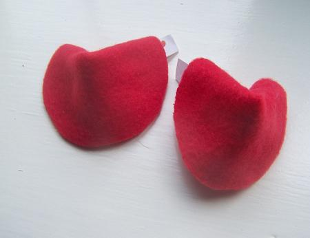 Sewing fortune cookie for Valentine day