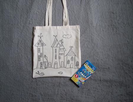 Fairy city shoulder bag and activity for kids houses tale Color your own