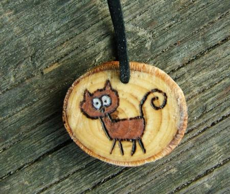 Little cat handmade engraved wooden pendant