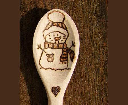 Snowman Christmas wooden spoon