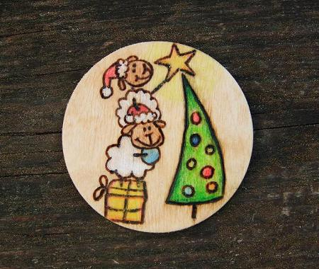 Xmas sheep fridge magnet
