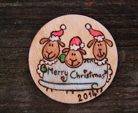 Christmas wooden gift card