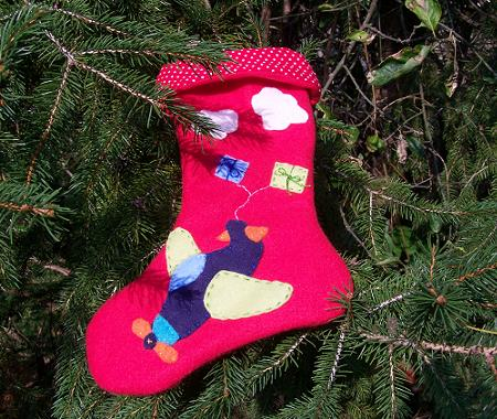 Airplane Xmas stocking handmade