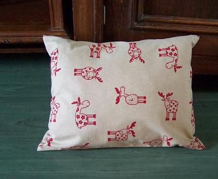 Red reindeer christmas pillow case