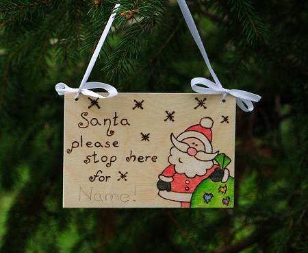 Santa please stop here door sign