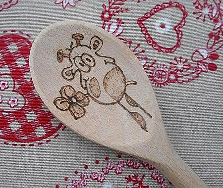 Valentine day giraffe wooden spoon