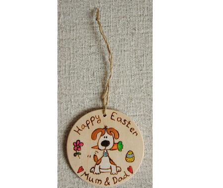 Easter dog carrott bauble gift tag