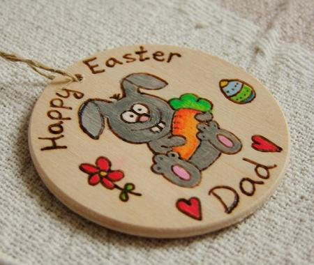 Easter bunny gift bauble wooden