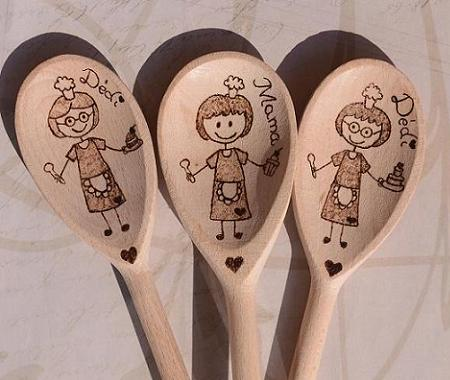 Personalized handmade wooden spoon for mom