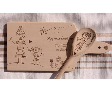 Personalized handmade wooden cut board and wooden spoon for mom