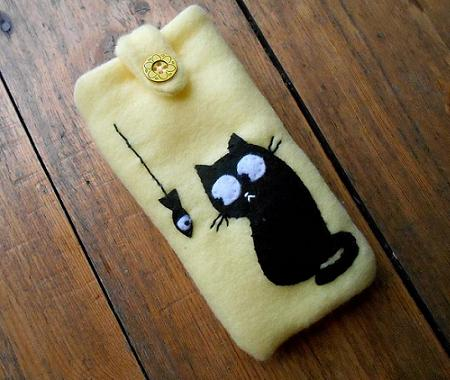 Personalized soft mobil case cat and fish