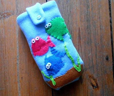 Colorful fish handmade case for mobile or camera