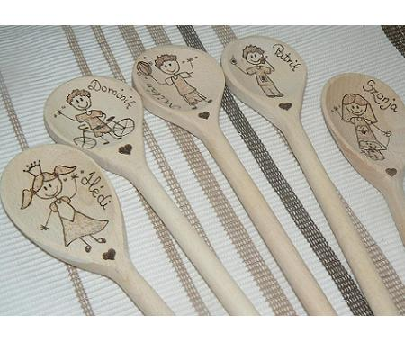 Personalized handmade pyrography wooden spoon figures
