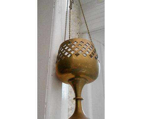 Vintage bronze candle holder wind chime old spoon fork pocket watch wall hanging