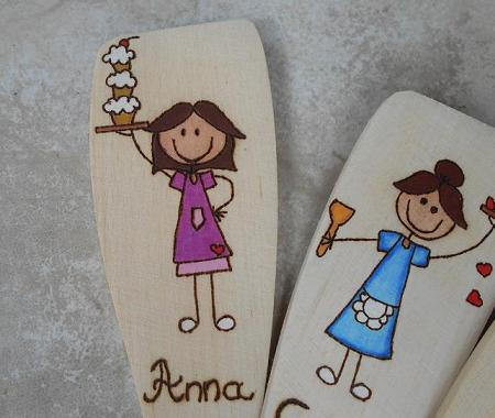 Color personalized wooden spoon pyrography