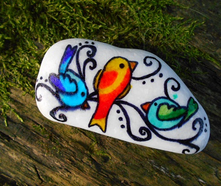 Fairy birds painted stone