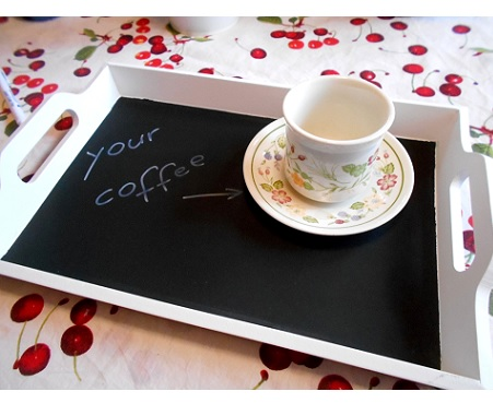 Handpainted white chalkboard tray