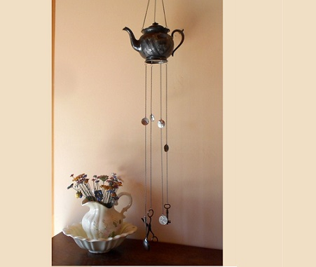 Rustic old teapot windchime
