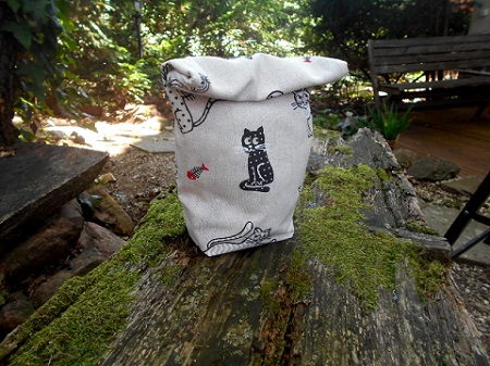 cat sewn lunch bag