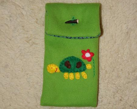 Pencil case with a turtle