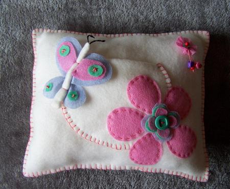 tooth pillow with butterfly